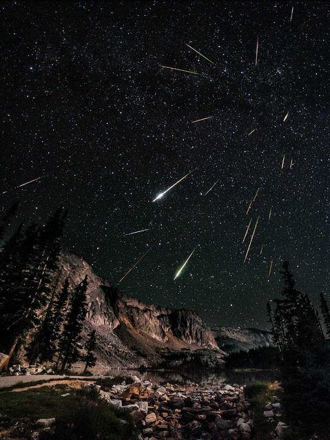 "Photographer David Kingham created this composite image from 23 photos on August 12, 2012. He writes, ""Last night I went out to Snowy Range in Wyoming in search of dark skies for the Perseid meteor shower."". (Photo by David Kingham)"
