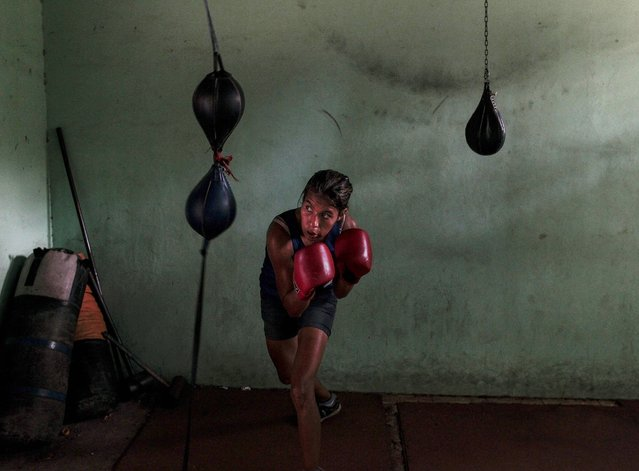 Nohelia Balmaceda, 17, attends a boxing class at the National Institute of Sport in Managua March 4, 2015. (Photo by Oswaldo Rivas/Reuters)