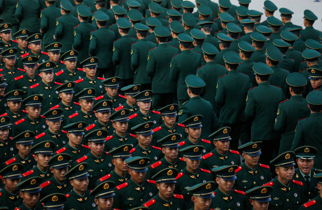 Newly recruited armed soldiers attend an inauguration ceremony on November 20, 2018 in Lanzhou, Gansu Province of China. A total of over one thousand armed soldiers began their duties on Tuesday after two months' training and study. (Photo by VCG/VCG via Getty Images)