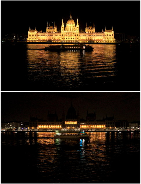 Combination picture shows the Hungarian parliament building before and during Earth Hour in Budapest, March 28, 2015. (Photo by Bernadett Szabo/Reuters)