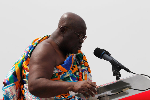 Ghana's President elect Nana Akufo-Addo speaks during his swearing-in ceremony at Independence Square in Accra, Ghana January 7, 2017. (Photo by Luc Gnago/Reuters)