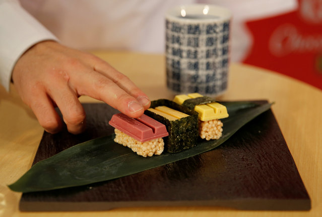 Nestle Japan's sushi-shaped KitKats for the upcoming Valentine's Day celebration are pictured at its Ginza store in Tokyo, Japan, February 2, 2017. (Photo by Toru Hanai/Reuters)