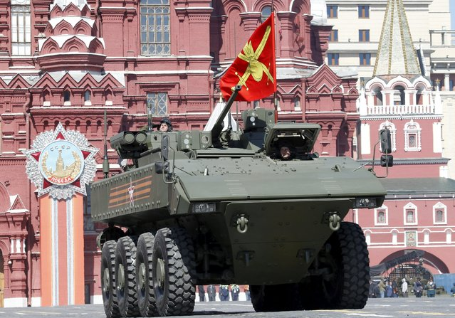A Russian Bumerang (Boomerang) wheeled armored personnel carrier drives during a rehearsal for the Victory Day parade in Red Square in central Moscow, Russia, May 7, 2015. (Photo by Grigory Dukor/Reuters)