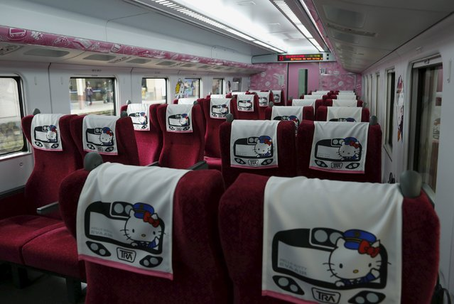 Hello Kitty headrest cover is inside a Hello Kitty-themed Taroko Express in Taipei, Taiwan March 21, 2016. (Photo by Tyrone Siu/Reuters)