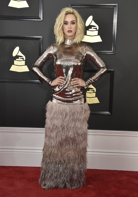Katy Perry arrives at the 59th annual Grammy Awards at the Staples Center on Sunday, February 12, 2017, in Los Angeles. (Photo by Jordan Strauss/Invision/AP Photo)