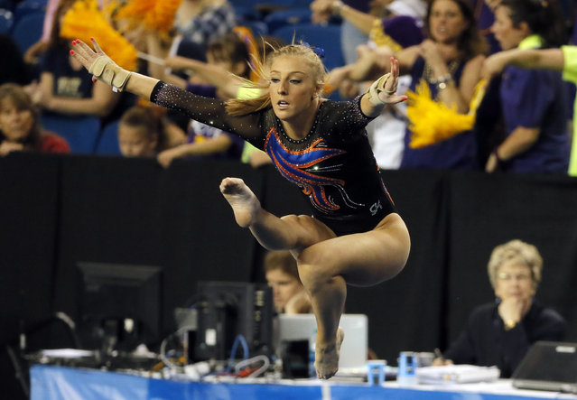 Florida's Alex McMurtry competes on the floor exercise during the NCAA women's gymnastics championships, Friday, April 15, 2016, in Fort Worth, Texas. (Photo by Tony Gutierrez/AP Photo)