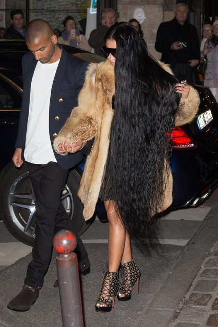 "Singer Nicki Minaj arrives to attend the ""V Magazine"" dinner at Laperouse restaurant on March 7, 2017 in Paris, France. (Photo by FameFlynet)"