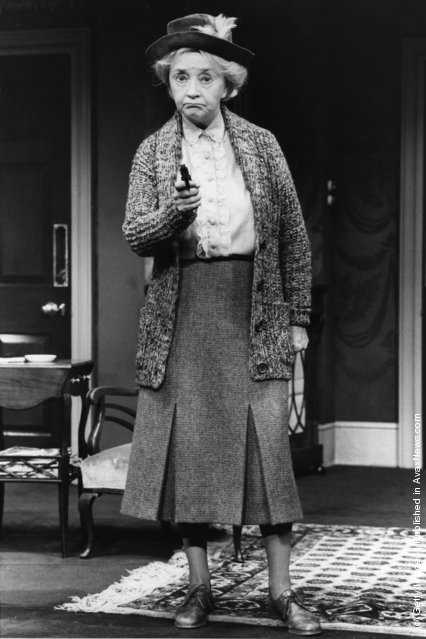 Dulcie Gray, British actress, plays the role of Miss Marple in a scene from a new Agatha Christie play A Murder Is Announced