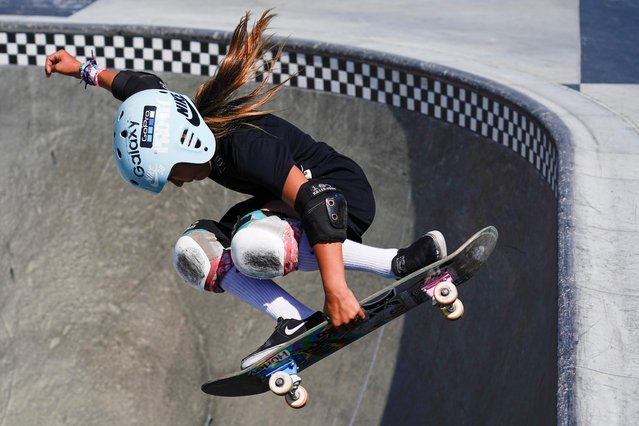 Sky Brown trains to become Britain's youngest summer Olympian at a skatepark in Huntington Beach, California, September 20, 2019. (Photo by Mike Blake/Reuters)