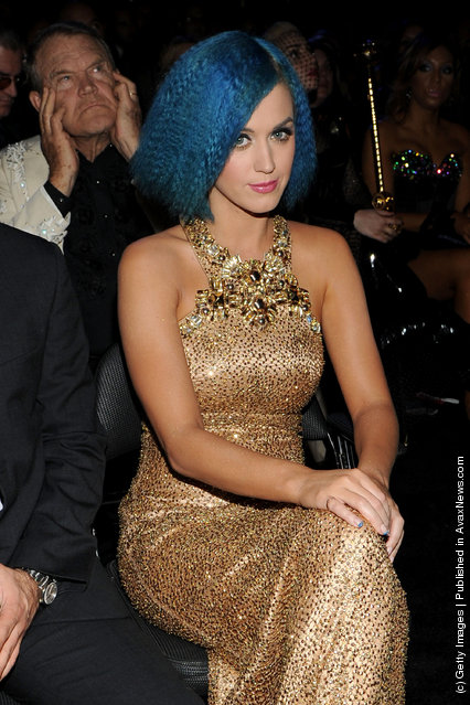 Singer Katy Perry in the audience at the 54th Annual GRAMMY Awards held at Staples Center