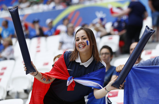 Football Soccer, France vs Republic of Ireland, EURO 2016, Round of 16, Stade de Lyon, Lyon, France on June 26, 2016. France fan before the match. (Photo by Jason Cairnduff/Reuters/Livepic)