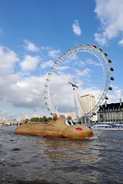 """File photo dated September 2, 2014 of Dutch artist Florentijn Hofman's first ever UK commission """"HippopoThames"""" being towed along the River Thames past the London Eye, from its build site at Royal Docks to its end position at Nine Elms on the South Bank. The sculpture, in part inspired by research from National History Museum palaeontologist Dr Victoria Herridge that hippos once swam in the Thames, is a 21-metre-long hippo called HippopoThames. (Photo by Nick Ansell/PA Wire)"""
