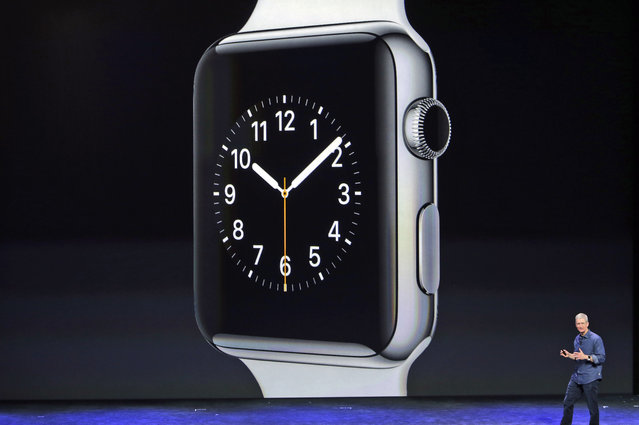 Apple CEO Tim Cook introduces the new Apple Watch on Tuesday, September 9, 2014, in Cupertino, Calif. (Photo by Marcio Jose Sanchez/AP Photo)