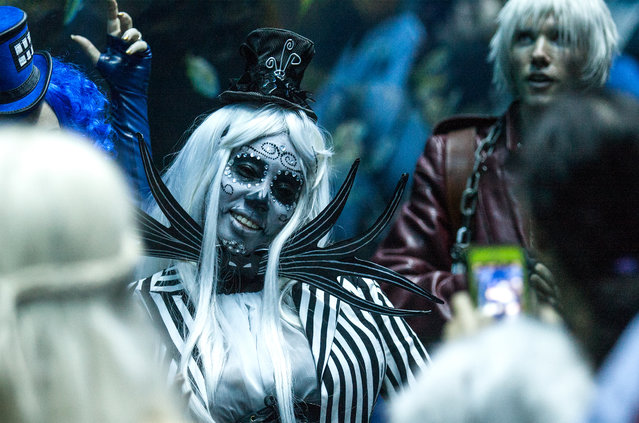 In this Saturday, September 5, 2015, photo, a Dragon Con attendee in costume poses during a private party held at the Georgia Aquarium as part of Dragon Con in Atlanta. (Photo by Ron Harris/AP Photo)