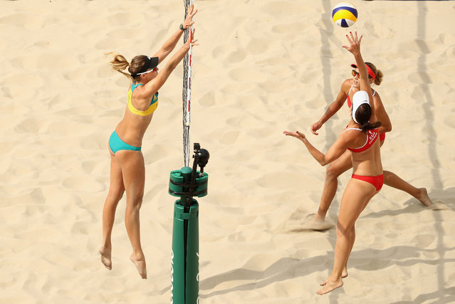 Isabelle Forrer and Anouk Verge-Depre of Switzerland and Nicole Laird of Australia in action during the Women's Beach Volleyball preliminary round Pool C match on Day 3 of the Rio 2016 Olympic Games at the Beach Volleyball Arena on August 8, 2016 in Rio de Janeiro, Brazil. (Photo by Ezra Shaw/Getty Images)