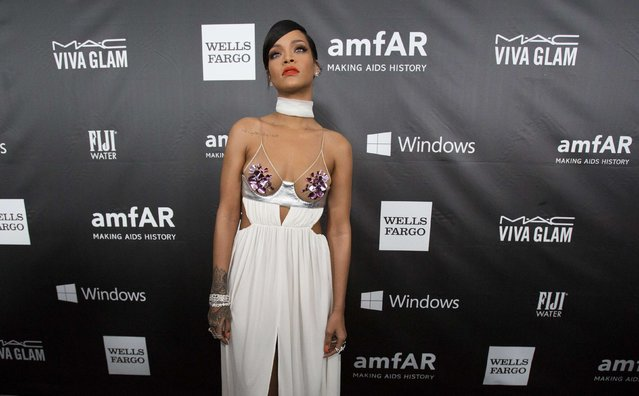 Singer Rihanna poses at the amfAR's Fifth Annual Inspiration Gala in Los Angeles, California October 29, 2014. (Photo by Mario Anzuoni/Reuters)