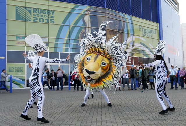 Rugby Union, Argentina vs Tonga, IRB Rugby World Cup 2015 Pool C, Leicester City Stadium, Leicester, England on October 4, 2015: Dancers outside the stadium before the match. (Photo by Andrew Boyers/Reuters/Action Images)