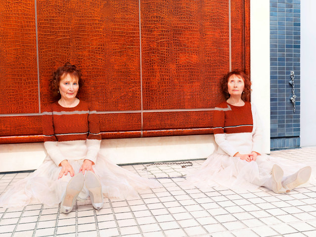 Each picture can take about half a day to shoot with a lot of adjusting of the position of the model and clothes to make sure the blend works as well as possible. This example shows twins posing in knitwear camouflaging into the panelling behind them. (Photo by Joseph Ford/South West News Service)