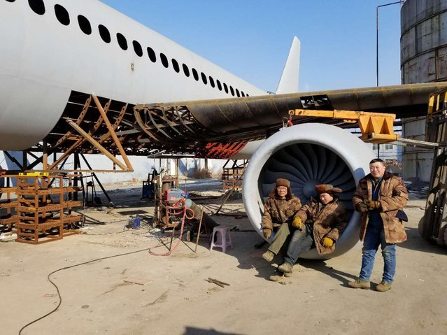 The homemade Airbus A320 jet plane made by Chinese farmer Zhu Yue is being built at an open space in Kaiyuan city, northeast China's Liaoning province on February 4, 2018. (Photo by Imaginechina/Rex Features/Shutterstock)
