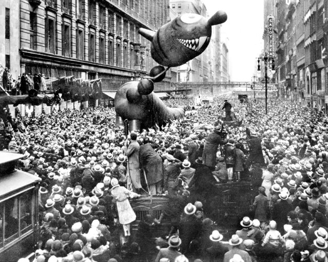 A not-too-ferocious dragon caught fancy of crowd at 1931 Macy's Thanksgiving Day Parade. (Photo by NY Daily News Archive via Getty Images)