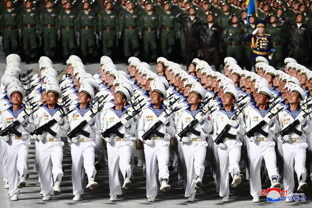 This picture taken on October 10, 2020 and released from North Korea's official Korean Central News Agency (KCNA) on October 11, 2020 shows the military parade during a ceremony to mark the 75th anniversary of the Workers' Party of Korea at Kim Il-sung Square of Pyongyang. (Photo by KCNA via KNS/AFP Photo)
