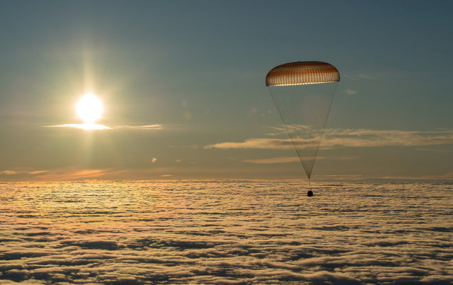 The Soyuz MS-06 capsule carrying the crew of Joe Acaba and Mark Vande Hei of the U.S., and Alexander Misurkin of Russia descends beneath a parachute just before landing in a remote area outside the town of Dzhezkazgan (Zhezkazgan), Kazakhstan, February 28, 2018. (Photo by Bill Ingalls/Reuters/NASA)