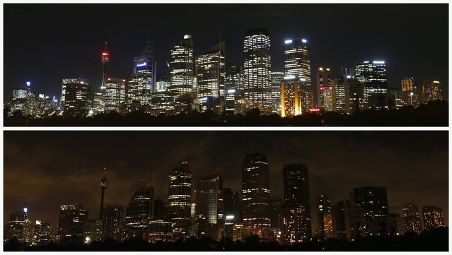A combination picture shows the central business district (CBD) of Sydney on March 21, 2013 (top) before Earth Hour, and during Earth Hour March 23, 2013. Earth Hour, when everyone around the world is asked to turn off lights for an hour from 8.30 p.m. local time, is meant as a show of support for tougher action to confront climate change. (Photo by Daniel Munoz/Reuters)