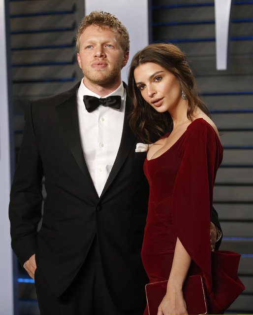 Emily Ratajkowski and new husband Sebastian Bear-McClard attend the 2018 Vanity Fair Oscar Party hosted by Radhika Jones at the Wallis Annenberg Center for the Performing Arts on March 4, 2018 in Beverly Hills, California. (Photo by Danny Moloshok/Reuters)