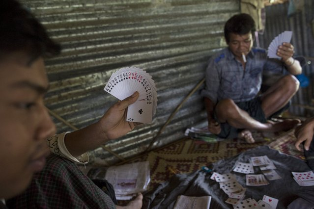 Men play cards after working to extract crude oil by hand at Yaynan Taung (Oil Mountain) in Kyaukpyu township, Rakhine state, Myanmar October 6, 2015. (Photo by Soe Zeya Tun/Reuters)