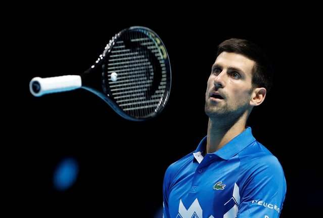 Serbia's Novak Djokovic during his semi-final match against Austria's Dominic Thiem at the APT Finals in London, Britain, November 21, 2020. (Photo by Paul Childs/Action Images via Reuters)