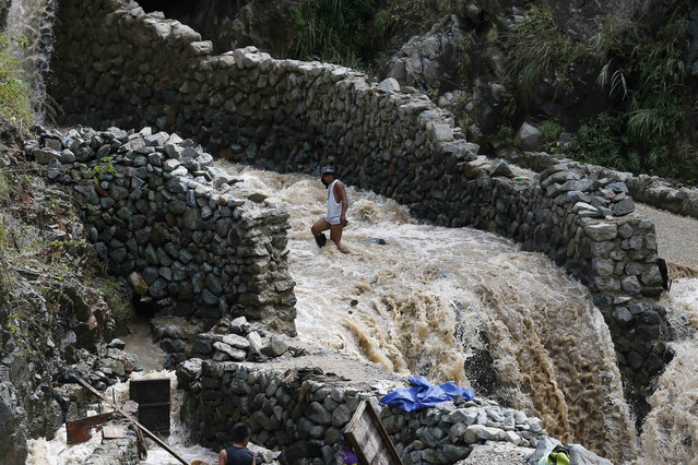 A small scale miner takes advantage of the muddy waters from the mountains brought about by Super Typhoon Haima as he prepares to pan for gold at Tuba township, Benguet province in northern Philippines Friday, October 21, 2016. (Photo by Bullit Marquez/AP Photo)