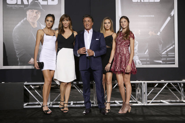 Sistine Stallone, Jennifer Flavin, Producer Sylvester Stallone, Sophia Stallone and Scarlet Stallone seen at Los Angeles World Premiere of New Line Cinema's and Metro-Goldwyn-Mayer Pictures' 'Creed' at Regency Village Theater on Thursday, November 19, 2015, in Westwood, CA. (Photo by Eric Charbonneau/Invision for Warner Bros/AP Images)