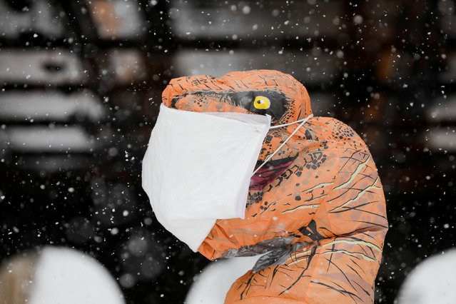 A person wearing an inflatable T-Rex costume with a mask on stands in Central Park as snow falls in Manhattan, New York City, U.S., February 7, 2021. (Photo by Andrew Kelly/Reuters)