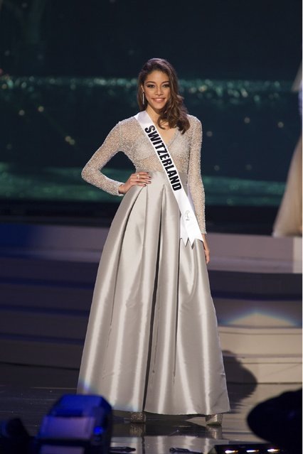 Zoe Metthez, Miss Switzerland 2014 competes on stage in her evening gown during the Miss Universe Preliminary Show in Miami, Florida in this January 21, 2015 handout photo. (Photo by Reuters/Miss Universe Organization)