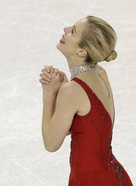 Ashley Wagner reacts after her performance during the women's free skate program at the U.S. Figure Skating Championships in Greensboro, N.C., Saturday, January 24, 2015. (Photo by Chuck Burton/AP Photo)