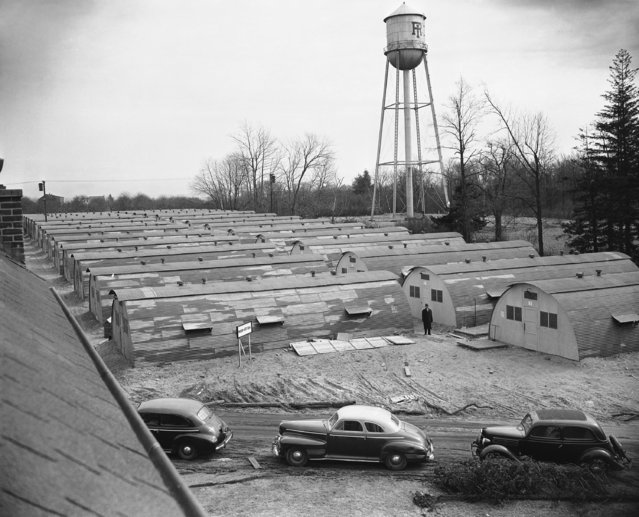General view of the Quonset huts which were erected at Rhode Island State College, Kingston, Rhode Island on February 21, 1946 to alleviate the housing shortage. In all, 80 huts will be built. Each hut will house eleven students providing a single bed, a study table and chair, plus 24 inches of wardrobe space for each student. (Photo by AP Photo/Abe Fox)