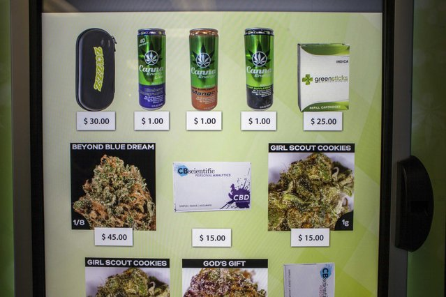 A view of the screen of a ZaZZZ vending machine that contains cannabis flower, hemp-oil energy drinks, and other merchandise at Seattle Caregivers, a medical marijuana dispensary, in Seattle, Washington February 3, 2015. Vending machines selling medical marijuana opened for business in Seattle on Tuesday, in what the company providing them billed as a first-in-the-state innovation that it expects to expand to other cities and states where pot is legal as medicine. (Photo by David Ryder/Reuters)