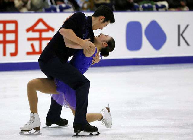 Figure Skating, ISU Grand Prix of Figure Skating NHK Trophy 2016/2017, Pairs Free Program, Sapporo, Japan on November 26, 2016. Xuehan Wang and Lei Wang of China reacts after competing. (Photo by Issei Kato/Reuters)