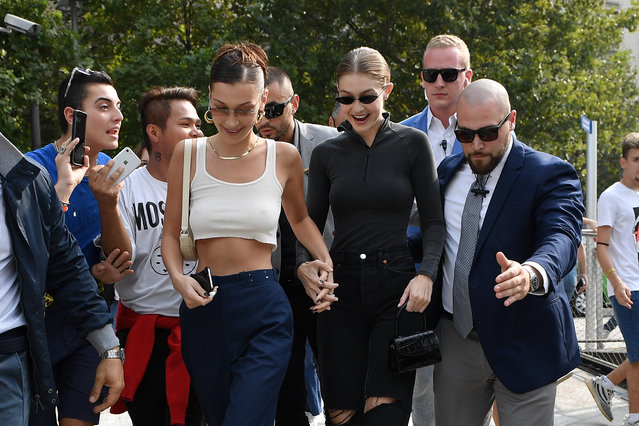 Bella Hadid and Gigi Hadid arrive at the Alberta Ferretti show during Milan Fashion Week Spring/Summer 2019 on September 19, 2018 in Milan, Italy. (Photo by Jacopo Raule/Getty Images)