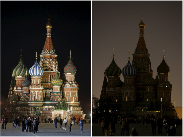 A combination picture shows St. Basil's Cathedral before and during Earth Hour in Moscow, March 28, 2015. (Photo by Sergei Karpukhin/Reuters)