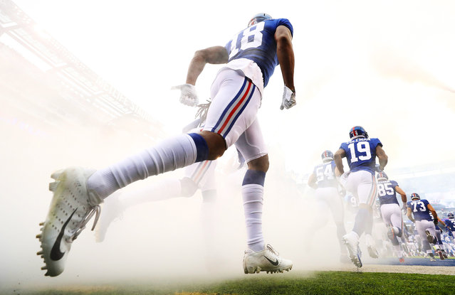 Bennie Fowler #18 of the New York Giants takes the field with the rest of his team against the Washington Redskins during their game at MetLife Stadium on October 28, 2018 in East Rutherford, New Jersey. (Photo by Al Bello/Getty Images)