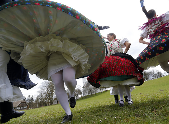 Hungarian dance as part of traditional Easter celebrations, during a media presentation in Szenna April 3, 2015. (Photo by Laszlo Balogh/Reuters)