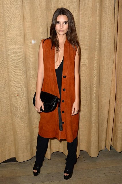 Emily Ratajkowski celebrates fashion week with a showcase for Studio Bryce Thompson at Suzer Groups U.S. Business Partners' Hotel, The NoMo Soho, Sponsored By Dom Perignon at Nomo Soho Hotel on February 18, 2016 in New York City. (Photo by Andrew Toth/Getty Images for Baran Suzer)
