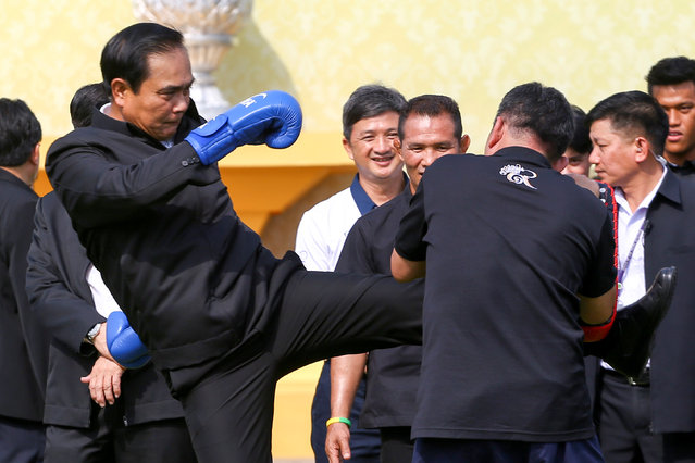 Thailand's Prime Minister Prayuth Chano-cha kicks during the Children's Day celebration at Government House in Bangkok, Thailand, January 14, 2017. (Photo by Athit Perawongmetha/Reuters)