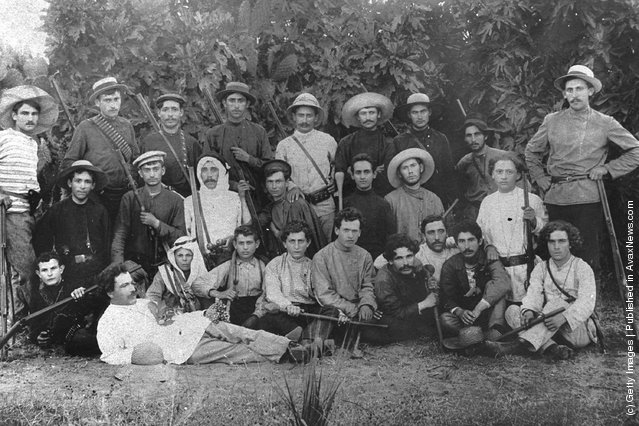 Members of Hashomer, a Jewish security organization dedicated to protecting pioneering Zionist settlements, pose with their rifles October 1, 1900 in the community of Rehovot during the Ottoman rule of Palestine in what would later become the State of Israel