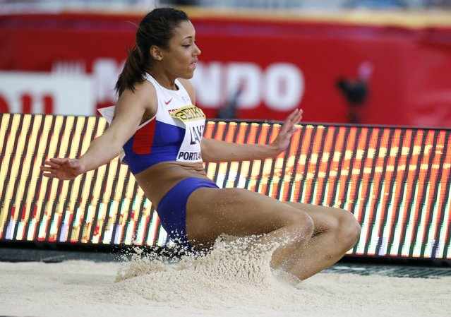 Morgan Lake of Britain competes in the long jump portion of the women's pentathlon during the IAAF World Indoor Athletics Championships in Portland, Oregon March 18, 2016. (Photo by Lucy Nicholson/Reuters)