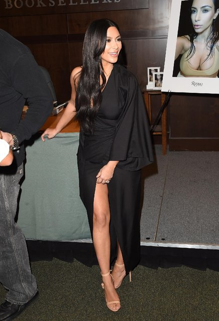 "Kim Kardashian West attends the book signing for ""Selfish"" at Barnes & Noble bookstore at The Grove on May 7, 2015 in Los Angeles, California. (Photo by Jason Merritt/Getty Images)"