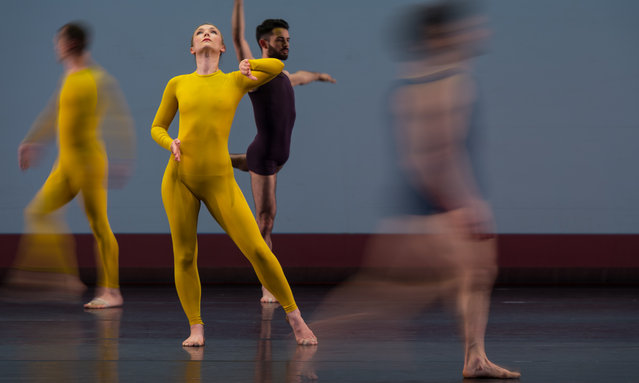 """Dancers perform on stage during the """"Night Of 100 Solos"""" photocall at Barbican Theatre on April 15, 2019 in London, England. (Photo by Ian Gavan/Getty Images)"""