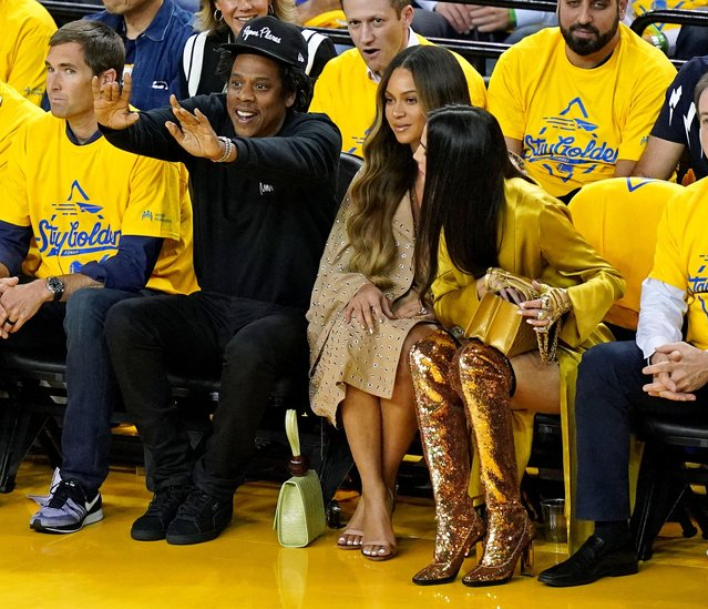 Recording artist Beyonce and Jay-Z during the second quarter in game three of the 2019 NBA Finals between the Golden State Warriors and the Toronto Raptors at Oracle Arena in Oakland, CA, USA on June 5, 2019. (Photo by Kyle Terada/USA TODAY Sports)