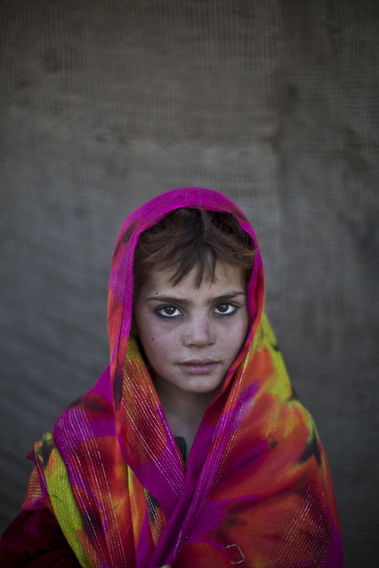 In this Saturday, January 25, 2014 photo, Afghan refugee girl, Nazmina Bibi, 7, poses for a picture, while playing with other children in a slum on the outskirts of Islamabad, Pakistan. (Photo by Muhammed Muheisen/AP Photo)